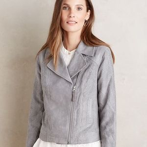 Anthropologie Hei Hei moto jacket gray zip Large L